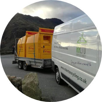 roberts recycling van towing charity textile recycling containers
