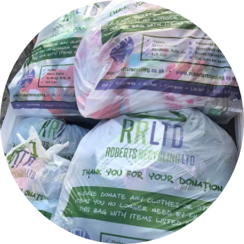 a basket full of roberts recycling recycle for school textile recycling bags